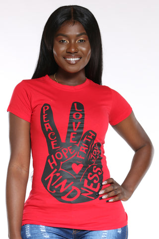 Women's Peace Kind Hope Love Top - Red-VIM.COM