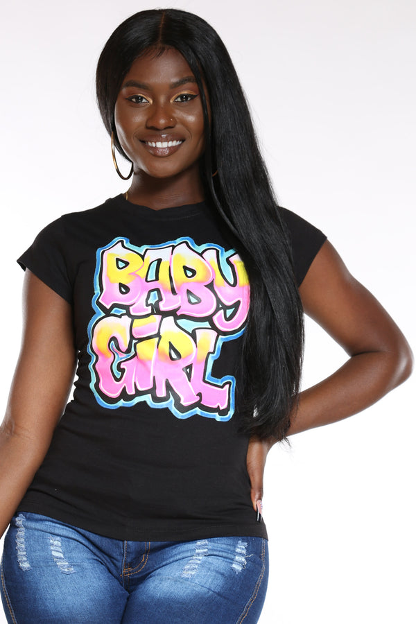 Women's Baby Girl Bubble Letters Top - Black-VIM.COM