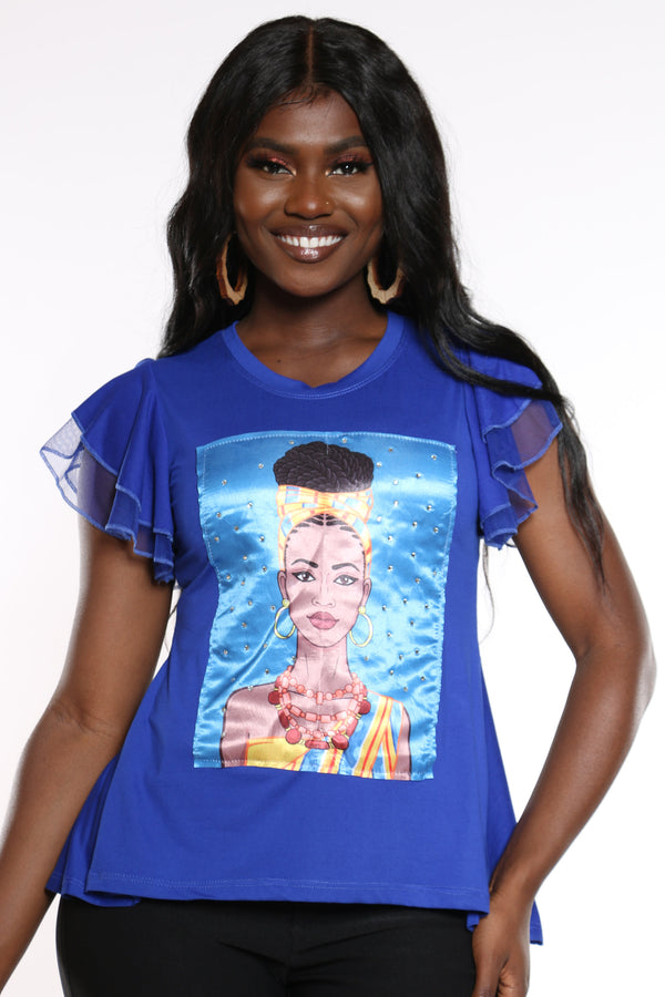 Women's Girl Afro Ruffle Sleeve Tee - Royal-VIM.COM