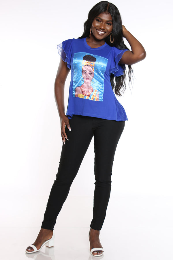 Women's Girl Afro Ruffle Sleeve Tee - Royal