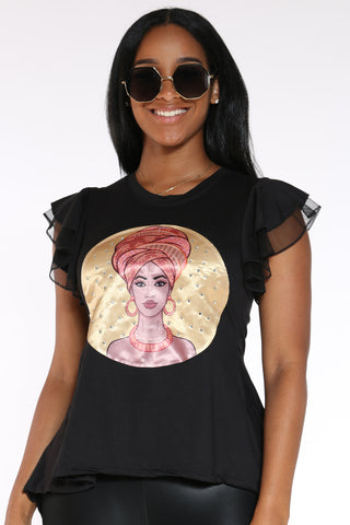 Women's Girl Turban Ruffle Sleeve Tee - Black-VIM.COM