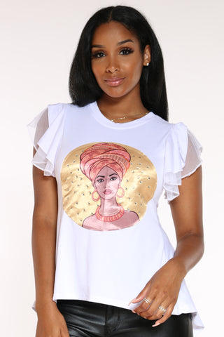 Women's Girl Turban Ruffle Sleeve Tee - White-VIM.COM