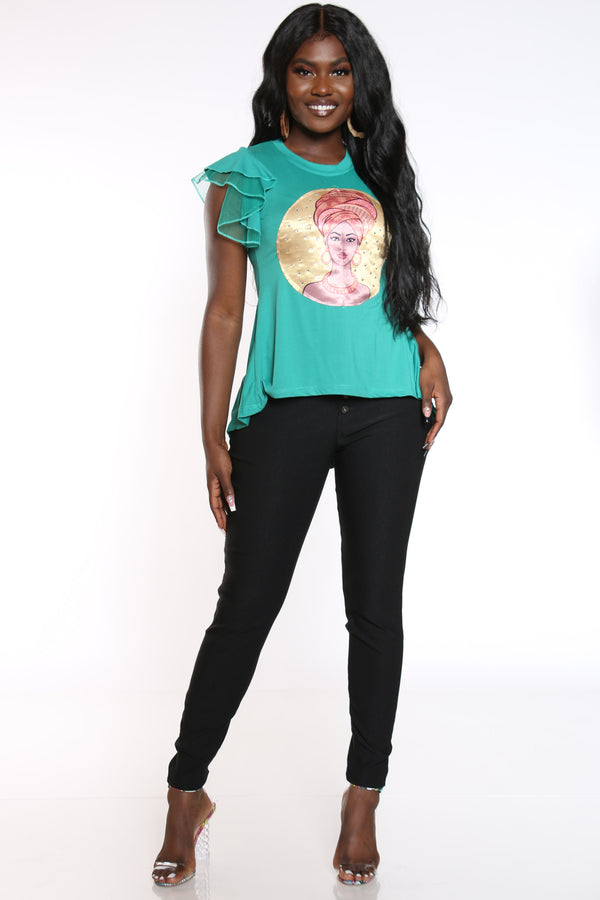 Women's Girl Turban Ruffle Sleeve Tee - Jade