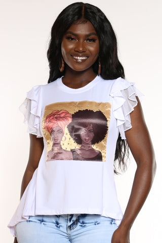 Women's Girl Afro & Turban Ruffle Sleeve Tee - White