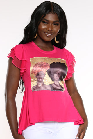 Women's Girl Afro & Turban Ruffle Sleeve Tee - Red