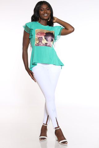 Women's Girl Afro & Turban Ruffle Sleeve Tee - Teal