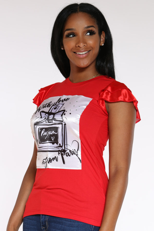 Women's Perfume Ruffle Sleeve Tee - Red