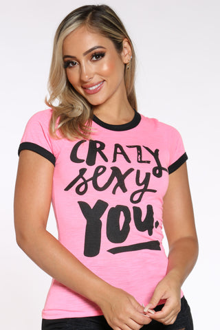 Women's Crazy Sexy You Ringer Tee - Pink-VIM.COM