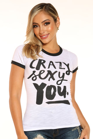 Women's Crazy Sexy You Ringer Tee - White-VIM.COM