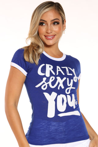 Women's Crazy Sexy You Ringer Tee - Royal-VIM.COM