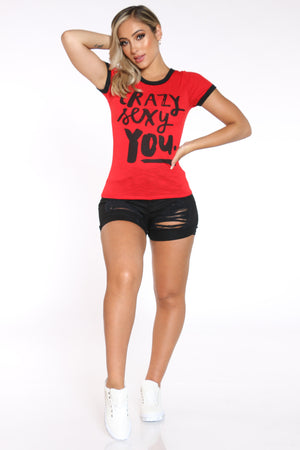 Women's Crazy Sexy You Ringer Tee - Red