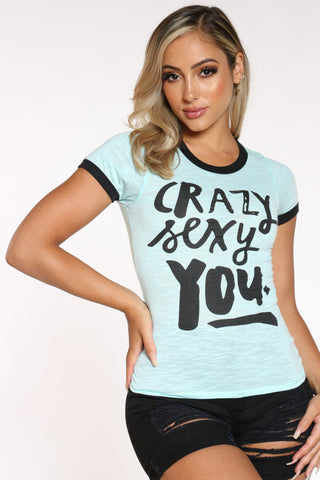 Women's Crazy Sexy You Ringer Tee - Green-VIM.COM