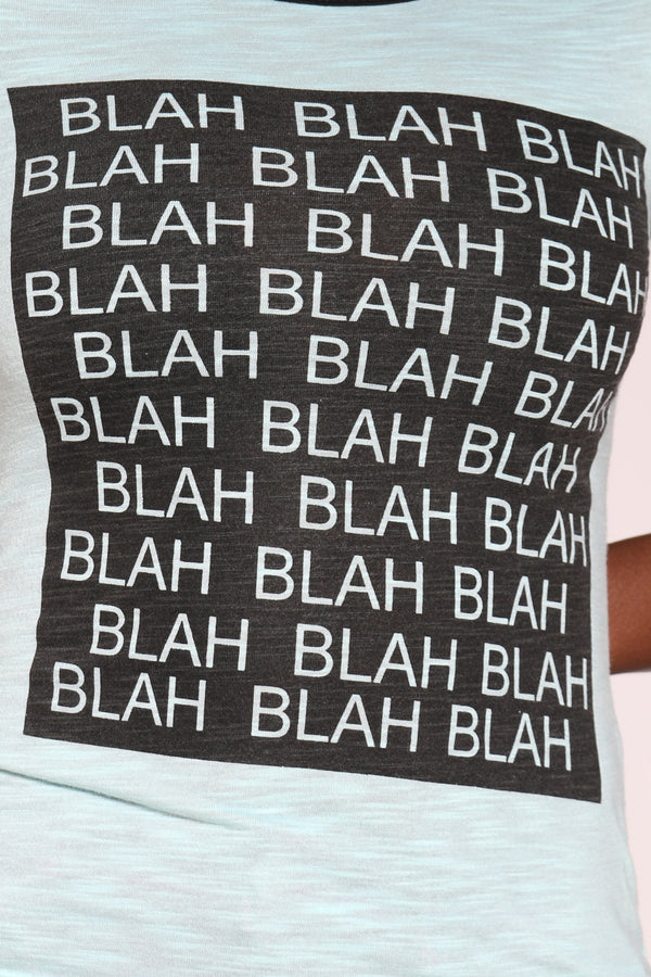 Women's Blah Blah Ringer Tee - Green