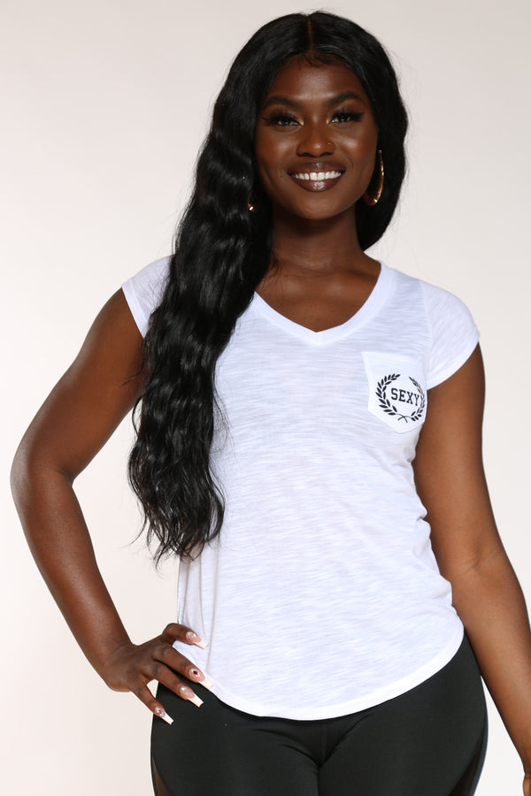 Women's Sexy Pocket Marled Tee - White-VIM.COM