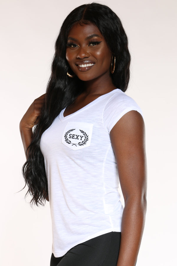 Women's Sexy Pocket Marled Tee - White