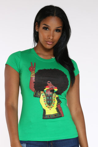Women's Afro Peace Girl Tee - Green-VIM.COM