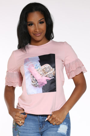 Women's Girl Clutch Pearls Shirt - Pink-VIM.COM