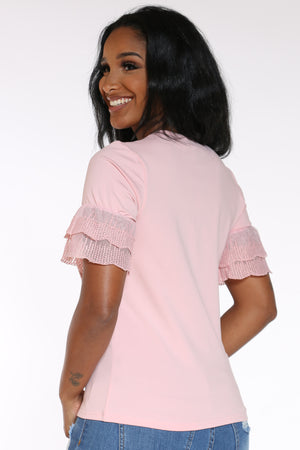 Women's Girl Clutch Pearls Shirt - Pink