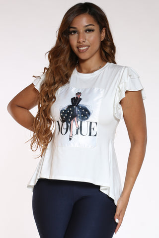 Women's Vogue Girl Pearls Tee - White-VIM.COM