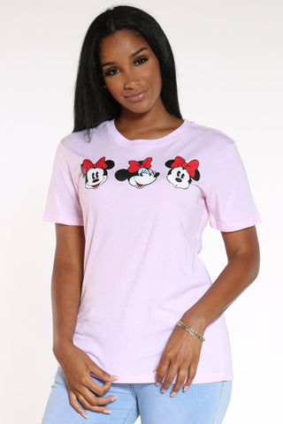 Women's Minnie 3 Faces Tee - Petal Pink