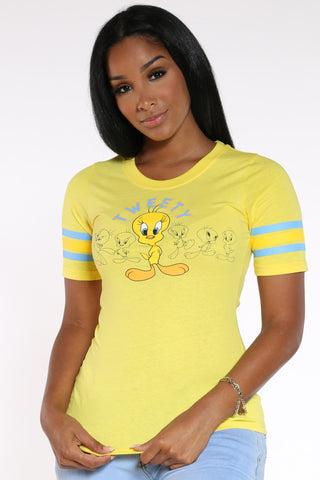 Women's Tweety Front & Back Ringer Tee - Yellow-VIM.COM