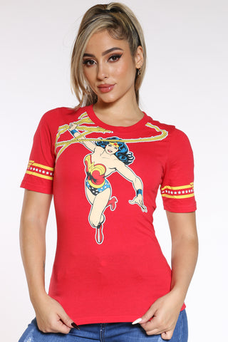 Women's Wonder Woman Ringer Tee - Red-VIM.COM