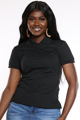 Women's 3 Button Solid Polo Top - Black