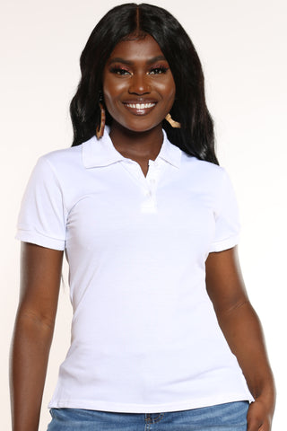 Women's 3 Button Solid Polo Top - White