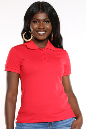Women's 3 Button Solid Polo Top - Red-VIM.COM