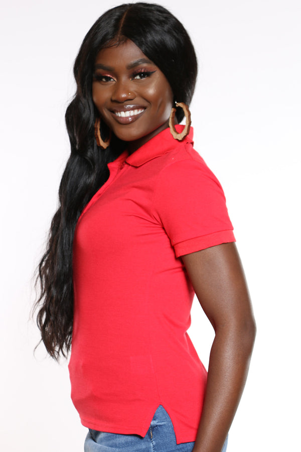 Women's 3 Button Solid Polo Top - Red
