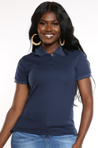 Women's 3 Button Solid Polo Top - Navy