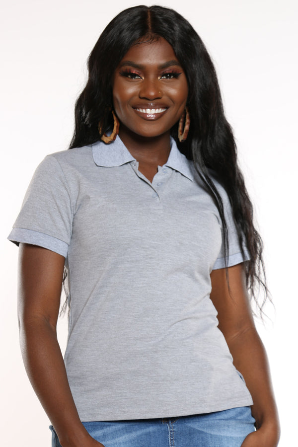 Women's 3 Button Solid Polo Top - Heather Grey-VIM.COM