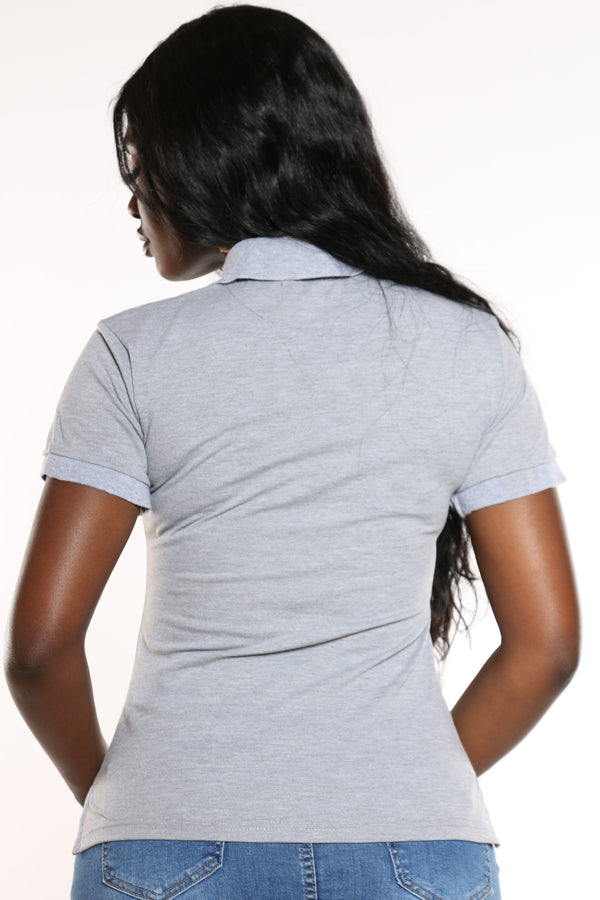 Women's 3 Button Solid Polo Top - Heather Grey