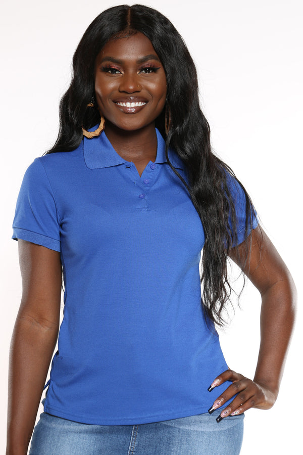 Women's 3 Button Solid Polo Top - Royal-VIM.COM
