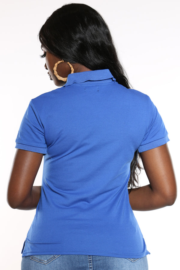 Women's 3 Button Solid Polo Top - Royal