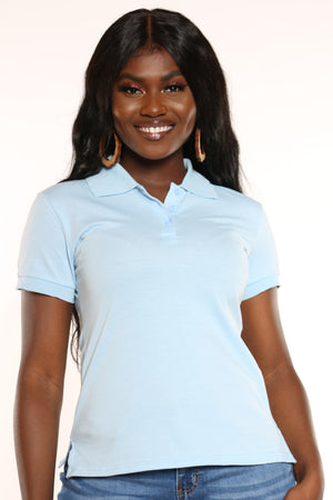 Women's 3 Button Solid Polo Top - Baby Blue-VIM.COM
