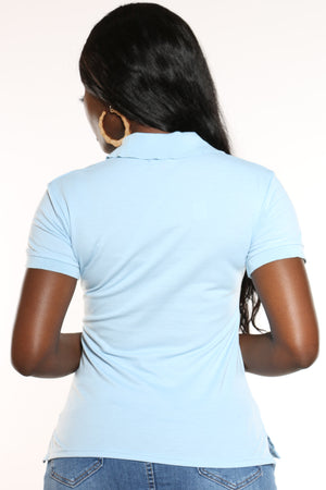 Women's 3 Button Solid Polo Top - Baby Blue