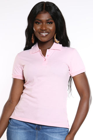 Women's 3 Button Solid Polo Top - Pink