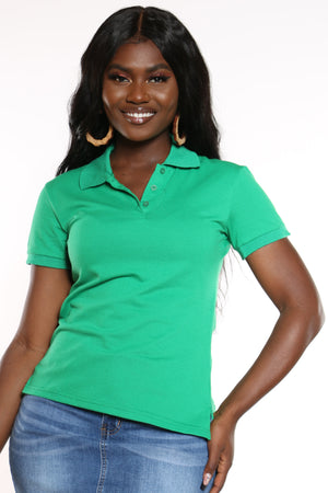 Women's 3 Button Solid Polo Top - Kelly Gree-VIM.COM