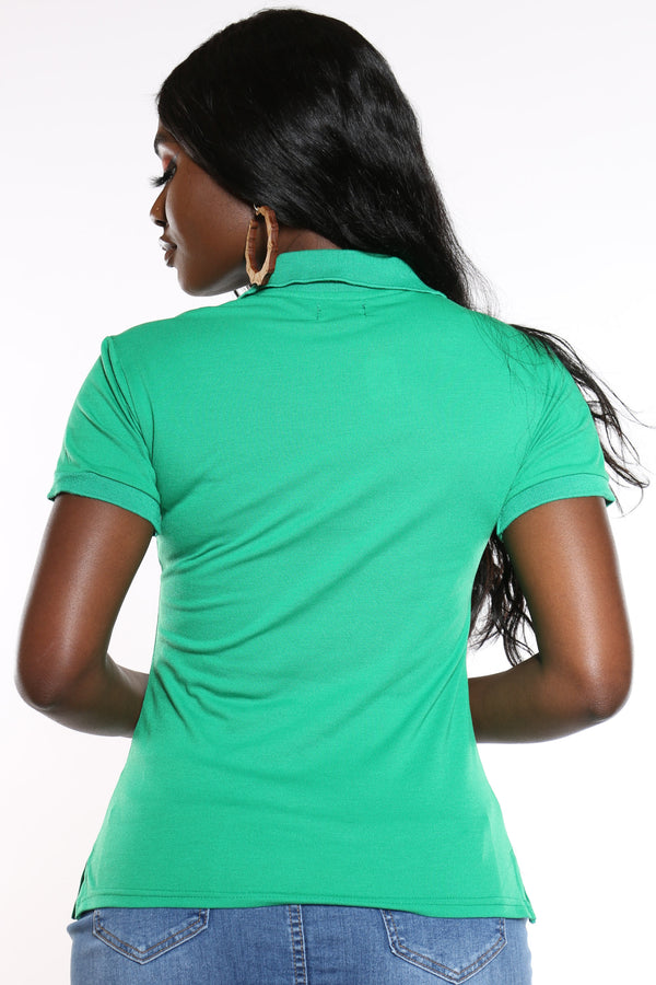 Women's 3 Button Solid Polo Top - Kelly Gree