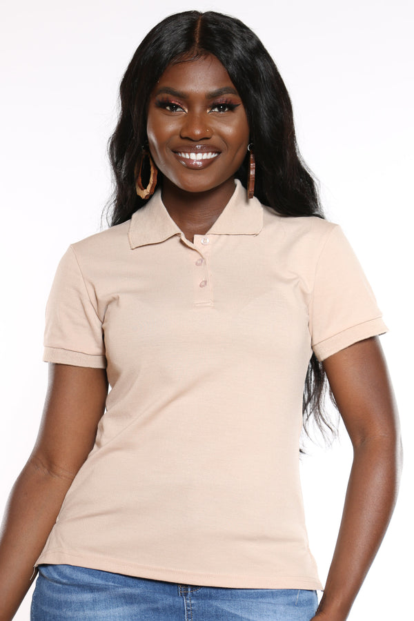 Women's 3 Button Solid Polo Top - Khaki-VIM.COM