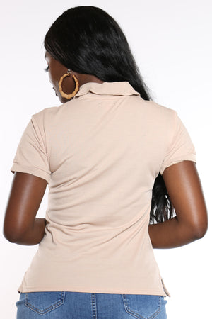 Women's 3 Button Solid Polo Top - Khaki