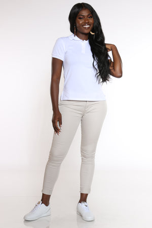 Women's 3 Button Polo Tee - White