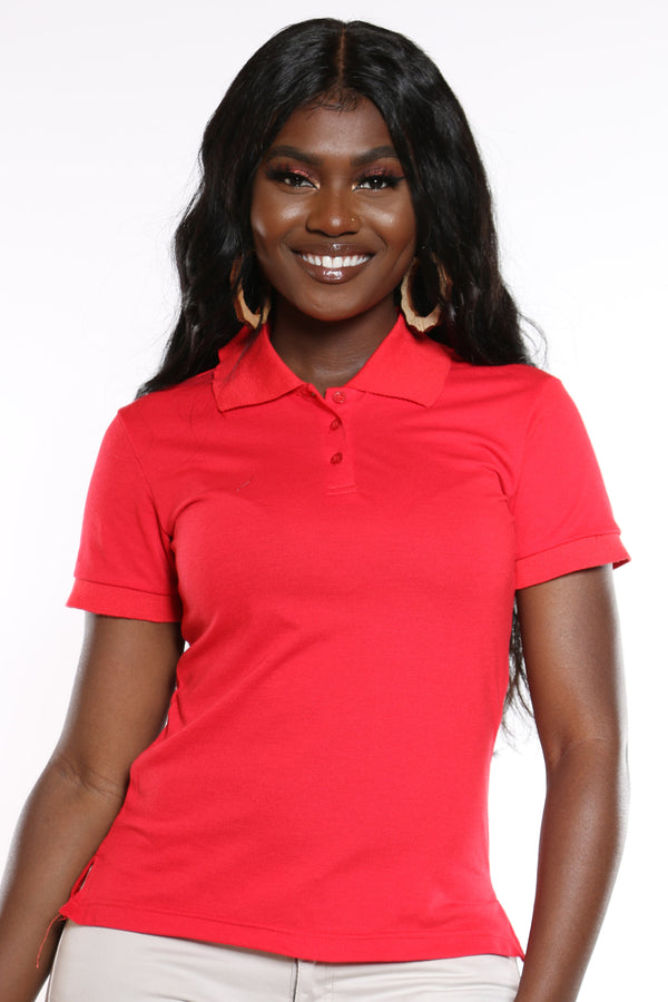 Women's 3 Button Polo Tee - Red-VIM.COM