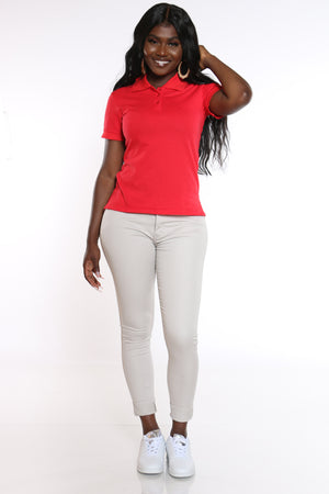 Women's 3 Button Polo Tee - Red