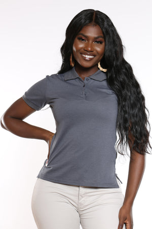 Women's 3 Button Polo Tee - Charcoal-VIM.COM