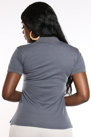 Women's 3 Button Polo Tee - Charcoal