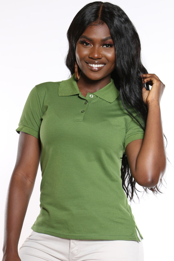 Women's 3 Button Polo Tee - Olive-VIM.COM
