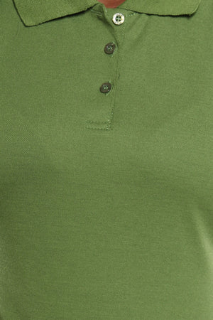 Women's 3 Button Polo Tee - Olive