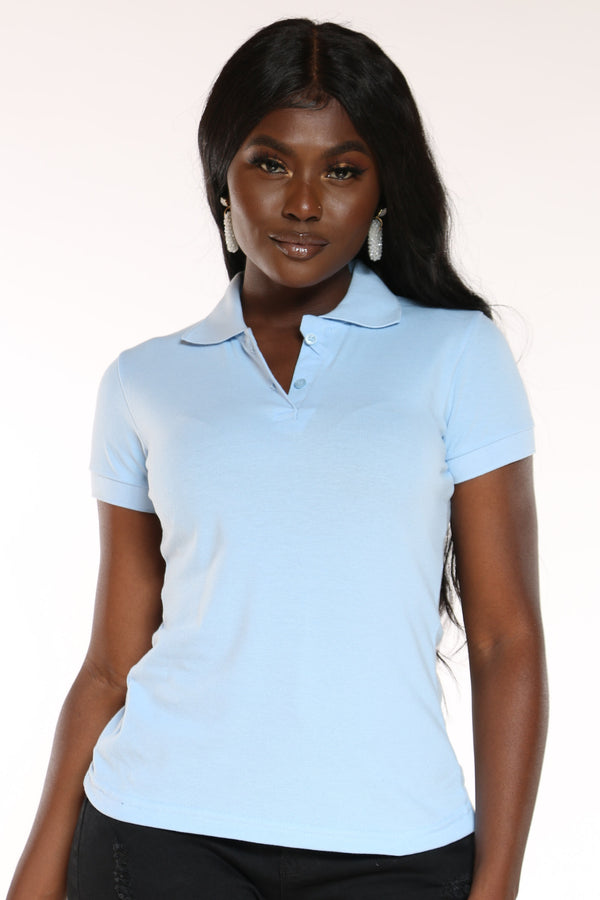 Women's 5 Button Solid Polo Tee - Light Blue-VIM.COM